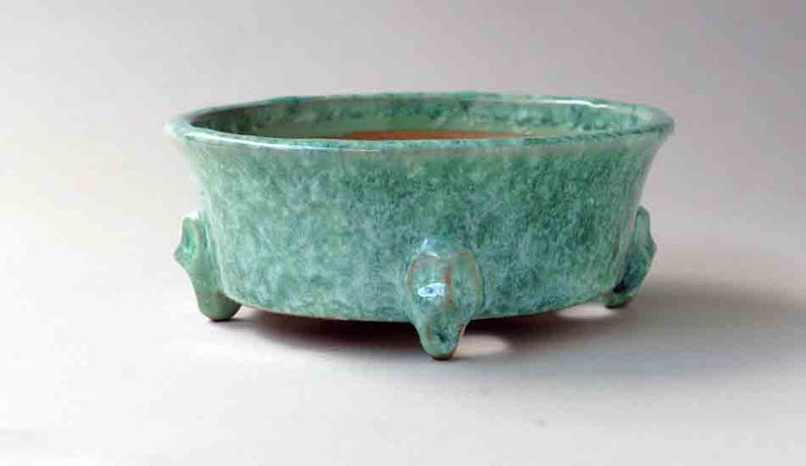 Shuuhou Round Bonsai Pot with face Feet in Yellow Green Glaze+++Shipping Free!