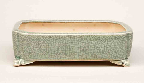 Eimei Rectangle Celadon Bonsai Pot with Corner Cutting 7,5 Inch +++Shipping Free!