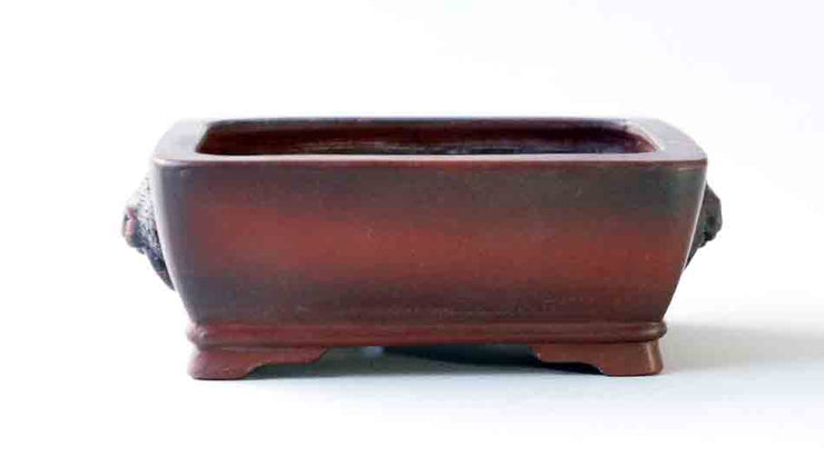 "Bigei Unglazed Rectangle Bonsai Pot with Lion Face 3.9""(10cm) +++ Shipping Free!!!"