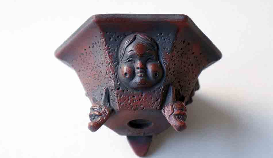 Bigei Bonsai Pot with Japanese Masks and Demon Feet +++Shipping Free!!!
