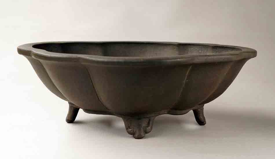 Eimei Unglazed Lotus Shaped Bonsai Pot 11 8 30cm Shipping Free Yukimono