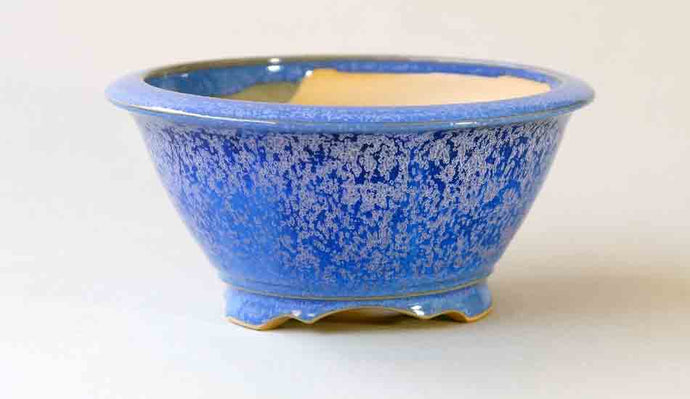 Eimei Round Bonsai Pot in Blue Glaze with Purple Crystals 5.0-inch++Shipping Free!
