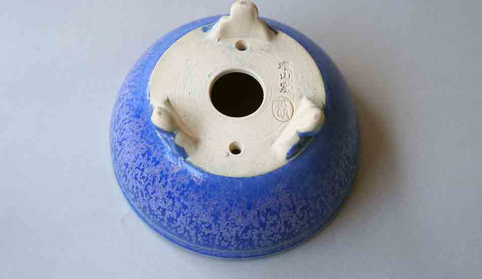 Eimei Round Bonsai Pot in Blue Glaze with Purple crystals++Shipping Free!