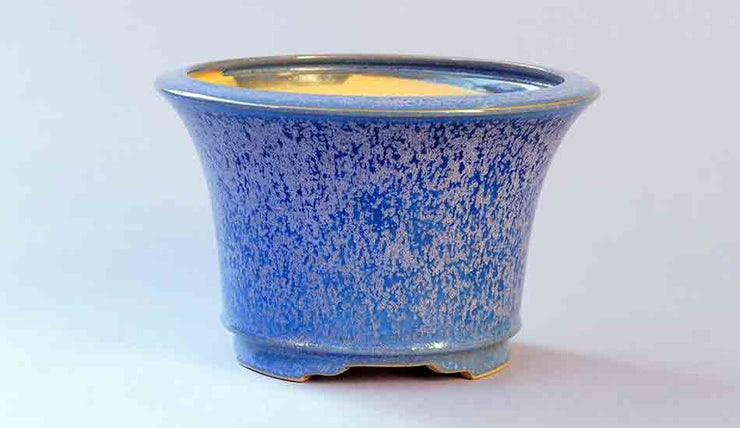 Eimei Round Bonsai Pot in Blue with Purple Crystals++Shipping Free!