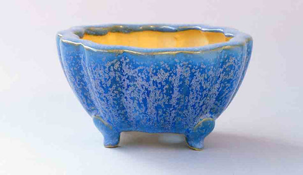 Eimei Flower Shaped Bonsai Pot in Blue Glaze with purple Crystals