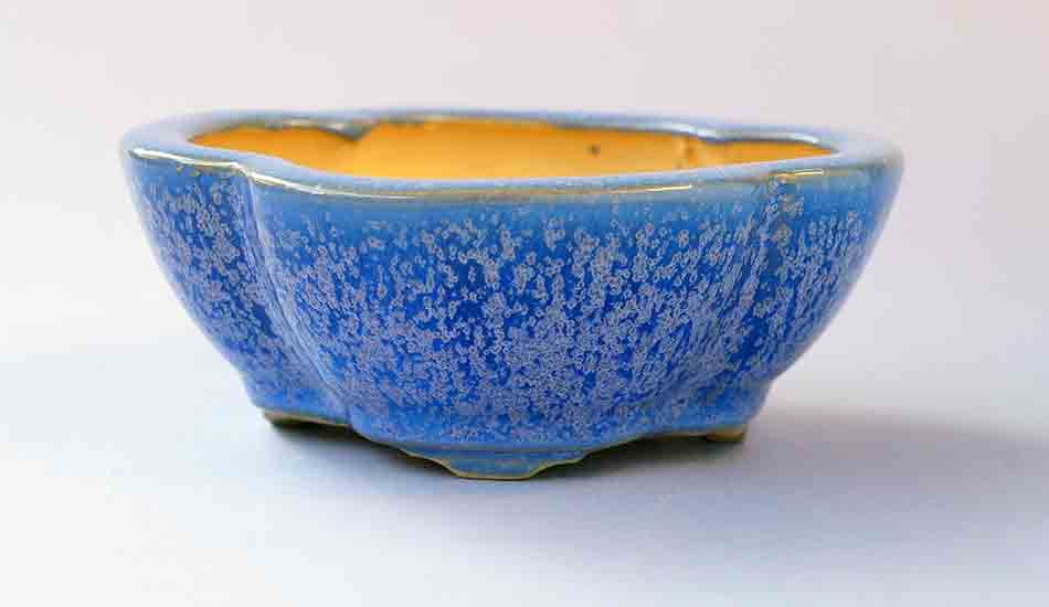 Eimei Square Mokko Bonsai Pot in Blue Glaze with Purple Crystals++Shipping Free!