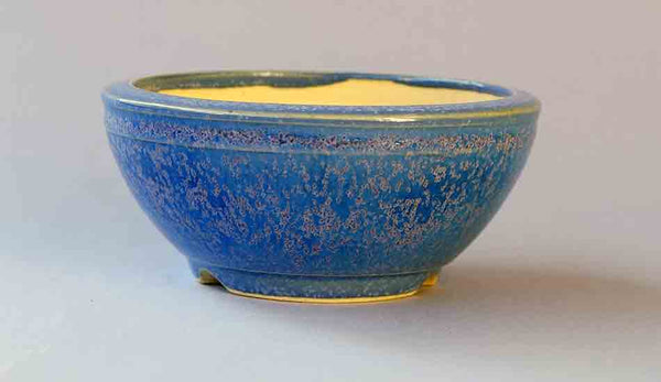 Eimei Round Bonsai Pot in Blue Glaze with Purple Crystals 4.3