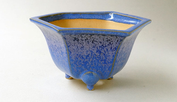Eimei Hexagonal Bonsai Pot in Blue Glaze +++Shipping Free!