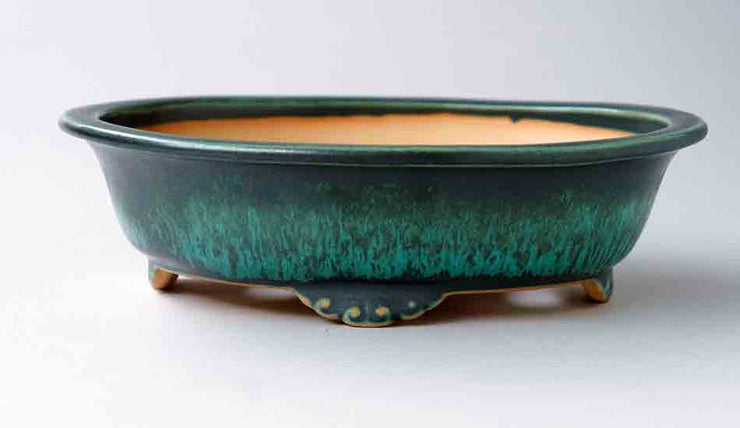 Old Feel! Eimei Blue Oribe Bonsai Pot with Rim, 7.5-Inch +++Shipping Free!!!