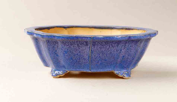 Eimei Ken-Mokko Shaped Bonsai Pot in Purple Glaze+++Shipping Free!