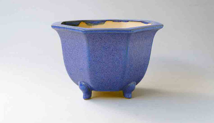 Eimei Octagonal Bonsai Pot  in Blue Glaze with Purple Crystals++Shipping Free!