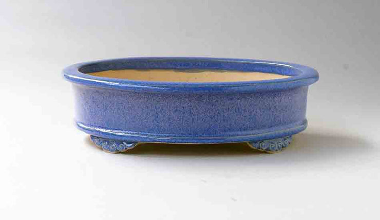 Eimei Oval Bonsai Pot in Blue with Purple Patina+++Shipping Free