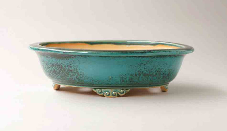 Eimei Blue Oribe Bonsai Pot with Rim, 7.5-Inch +++Shipping Free