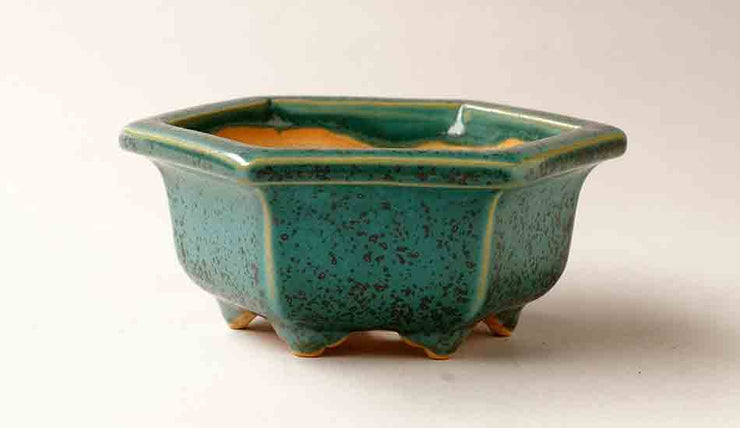 Eimei Hexagonal Bonsai Pot in Oribe Glaze+++Shipping Free