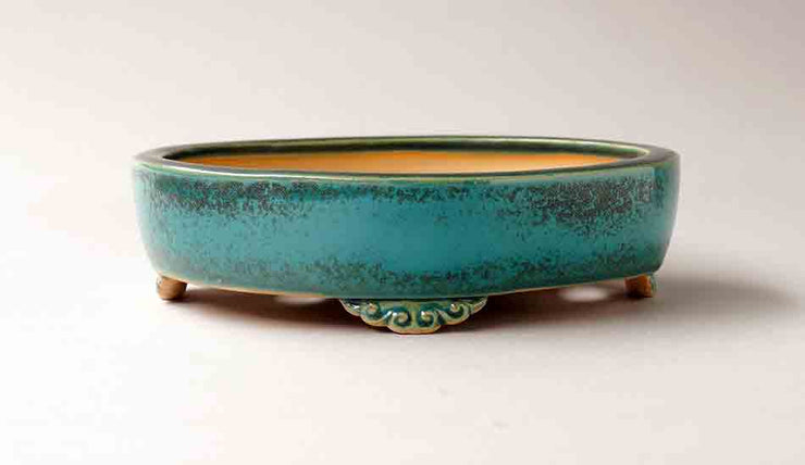 "EImei Blue Oval Bonsai Pot 7.0""(18.4cm) +++Shipping Free"