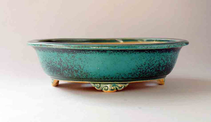 Eimei Blue Oribe Bonsai Pot with Rim, 7.5-Inch +++Shipping Free!!!