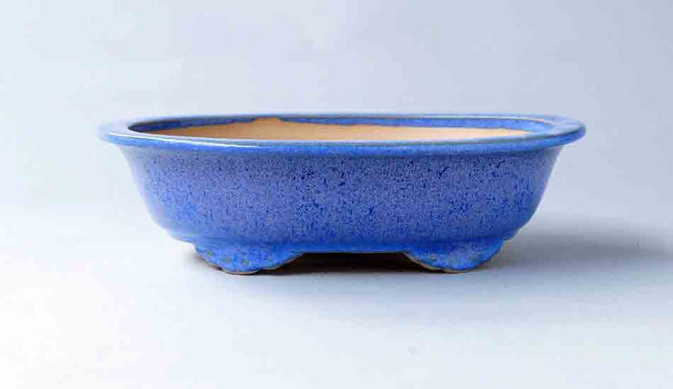 Eimei Oval Bonsai Pot with Rim in Blue with Purple Patina+++Shipping Free