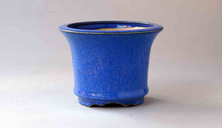 Eimei Round Bonsai Pot in Blue with Purple Patina