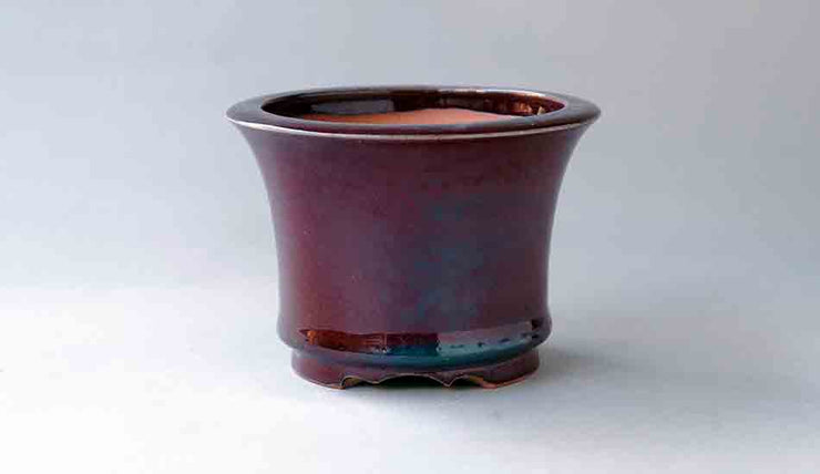 Eimei Round Bonsai Pot in Shinsya Glaze Red