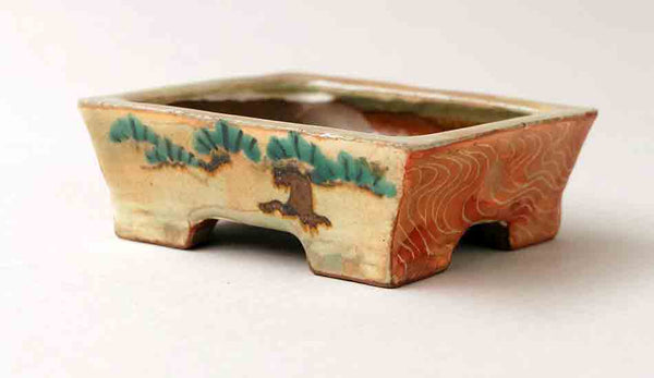 Gassan Rectangle Bonsai Pot with Painting of Pine Tree