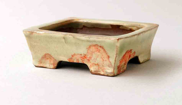Gassan Rectangle Bonsai Pot with Painting of Mountain