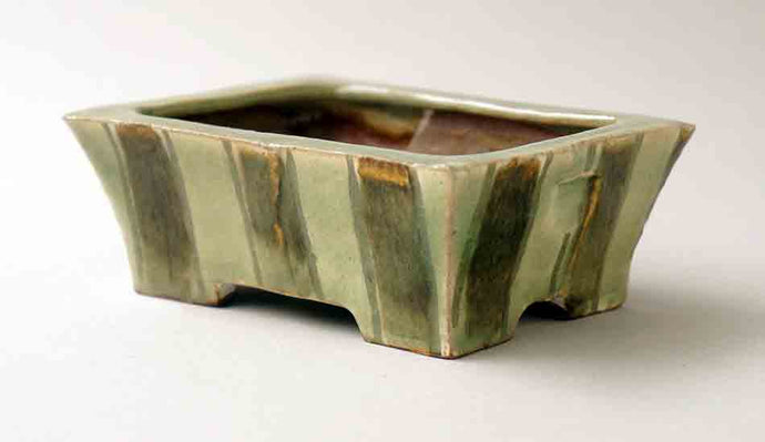 Gassan Rectangle Bonsai Pot with Brown & Green stripes