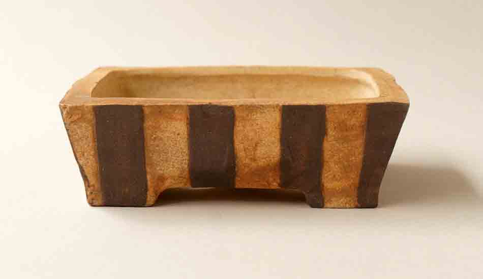 Gassan Unglazed Bonsai Pot with Brown & White stripes