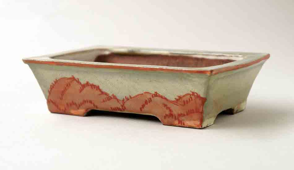 Gassan Rectangle Bonsai Pot with Painting of Red Mountain 3,1