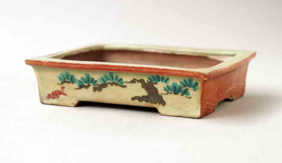Gassan Bonsai Pot with Painting of Pine Tree 4.4