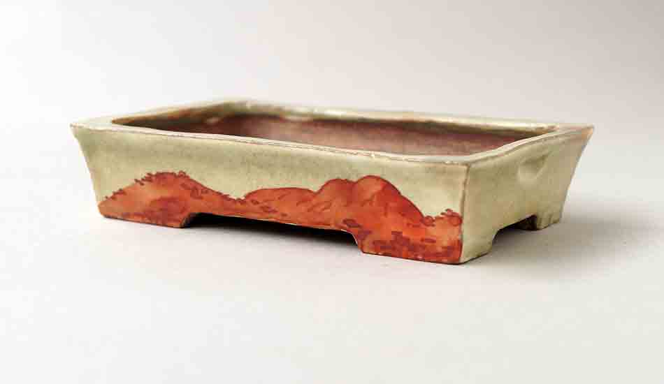 "Gassan Rectangle Bonsai Pot with Painting of Mountain 5.0""(12.8cm) ++Shipping Free!"