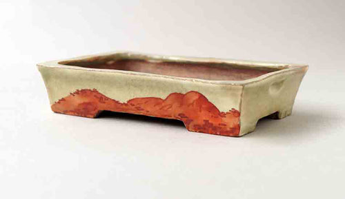 Gassan Rectangle Bonsai Pot with Painting of Mountain 5.0