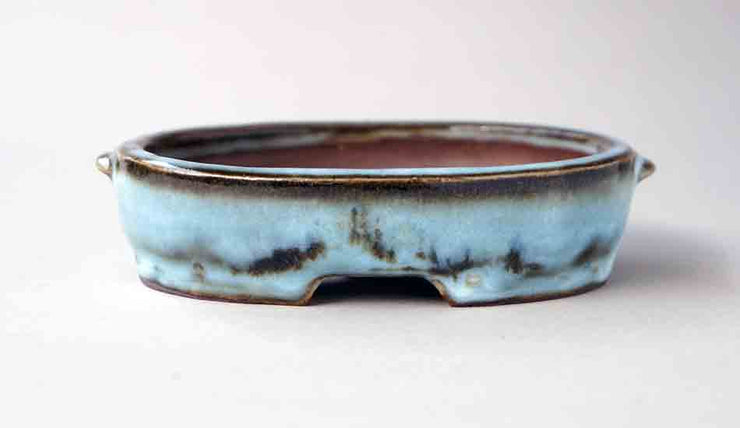 "Gassan Oval Bonsai Pot with the moon 4.5""(11.5cm)+++Shipping Free!"