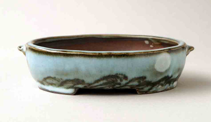 "Gassan Oval Bonsai Pot with the Moon 6.2""(16cm)+++Shipping Free!"