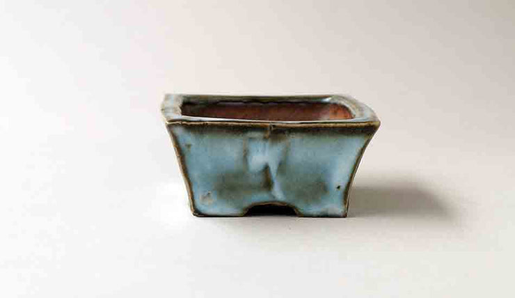 "Gassan Rectangle Bonsai Pot with the Moon 3.7""(9.5cm)+++Shipping Free!"