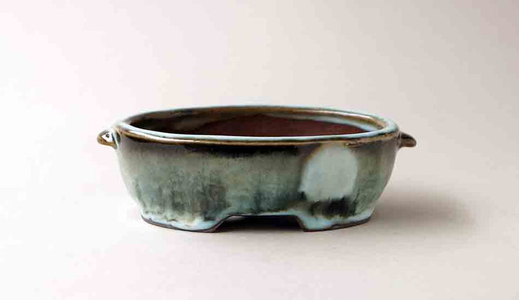 "Gassan Oval Bonsai Pot with Hazy Moon 4.7""(12cm)+++Shiping Free!"