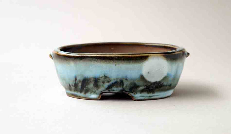 "Gassan Oval Bonsai Pot with the Moon 4.7""(12cm)+++Shipping Free!"