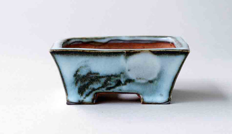 "Gassan Rectangle Bonsai Pot with the Moon 3,3""(8.6cm)+++Shipping Free!"