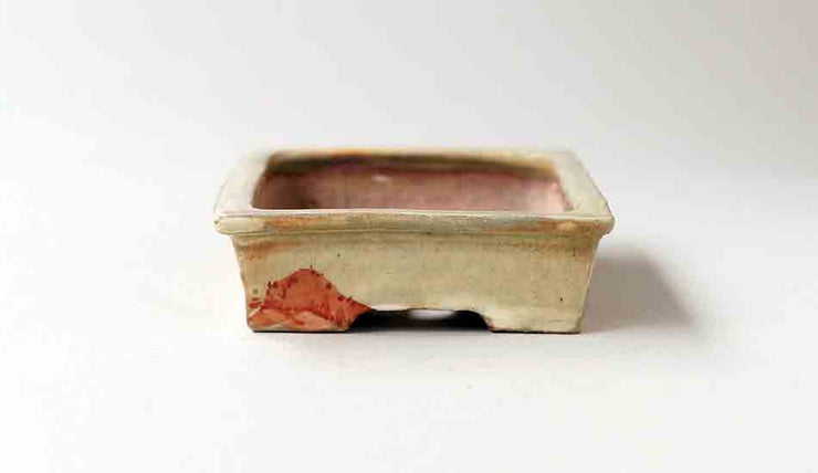 "Gassan Rectangle Bonsai Pot with Painting of Mountain 4.4""(11.2cm) ++Shipping Free!"