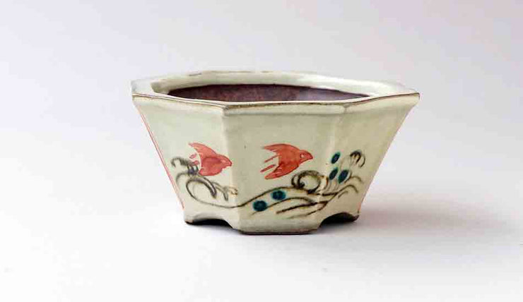 Gassan Octagonal Bonsai Pot in Red Chidori+++Shipping Free