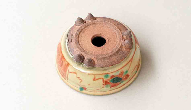 Gassan Round Bonsai Pot with Red Painting+++Shipping Free