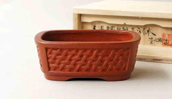 Ikko Unglazed Rectangle Bonsai Pot with Mesh Patterns