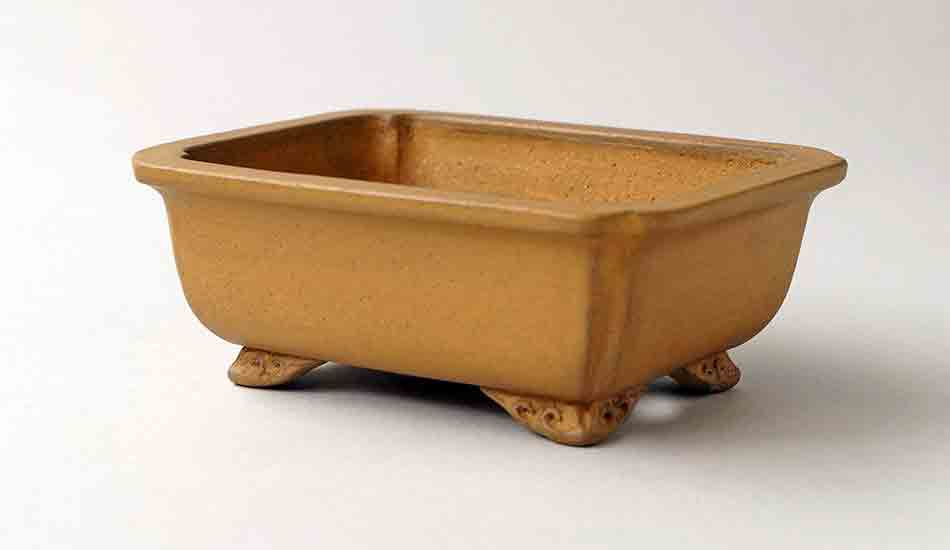 Ikko Unglazed Yellow Rectangle Bonsai Pot with Rim 12.3cm