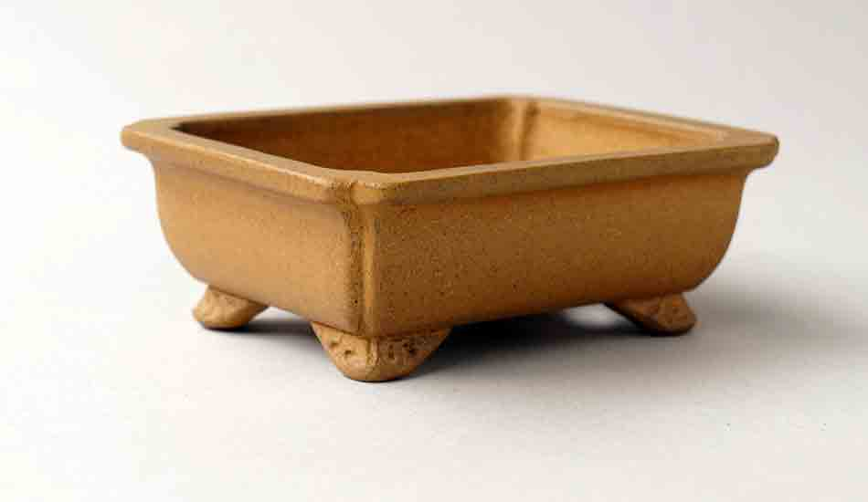 Ikko Unglazed Yellow Rectangle Bonsai Pot with Rim 10.5cm