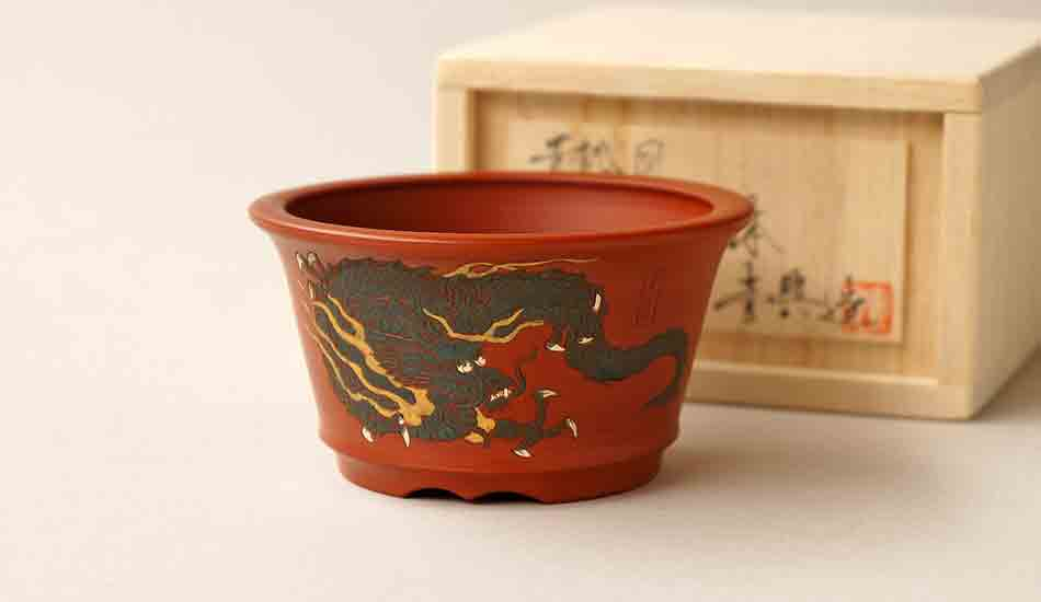 Ikko Unglazed Bonsai Pot with Painting of Dragon