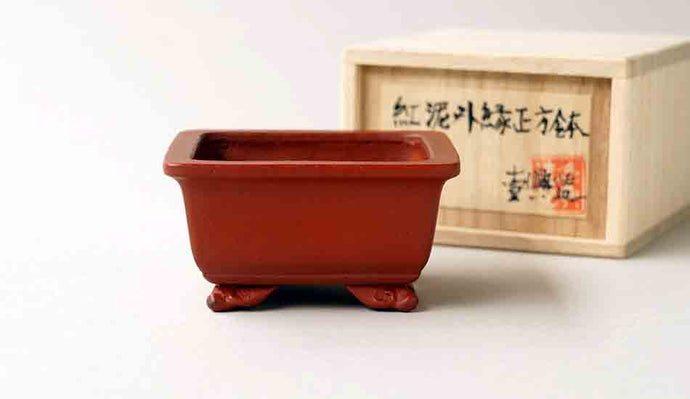 Ikko Unglazed Square Bonsai Pot with Cloud Feet