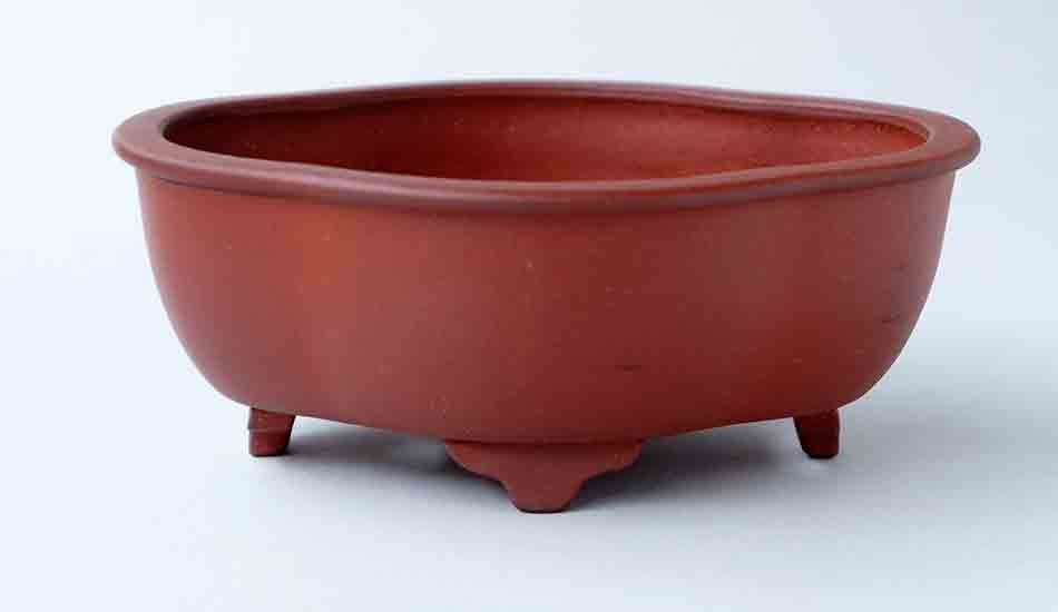 IKKO Unglazed Mokko Shaped Bonsai Pot in Red