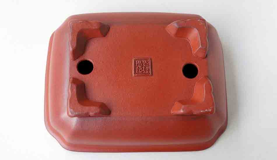 "Ikko Unglazed Rectangle Bonsai Pot in Red 7.1""(18.2cm)"