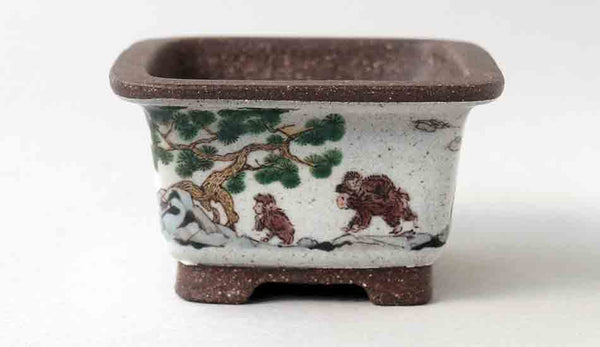Ikko Square Bonsai Pot with the Painting of Monkeys