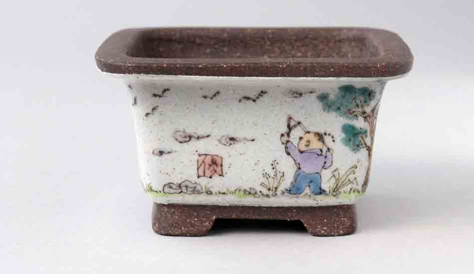 Ikko Square Bonsai Pot with the Painting of Children