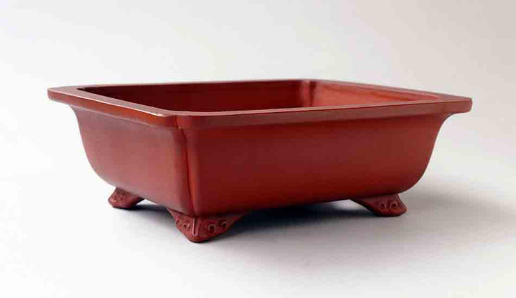 "Ikko Unglazed Rectangle Bonsai Pot in Shudei (vermilion clay) 7.8""(20cm)"